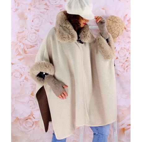Cape manteau femme grande taille fourrure RUBY Beige Cape femme
