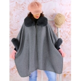 Cape manteau grande taille laine fourrure gris RUBY