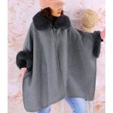 Cape manteau femme grande taille fourrure RUBY Gris-Cape femme-CHARLESELIE94