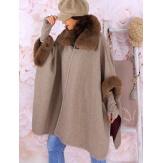 Cape manteau grande taille laine fourrure taupe RUBY