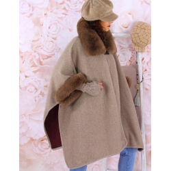 Cape manteau femme grande taille fourrure RUBY Taupe Cape femme
