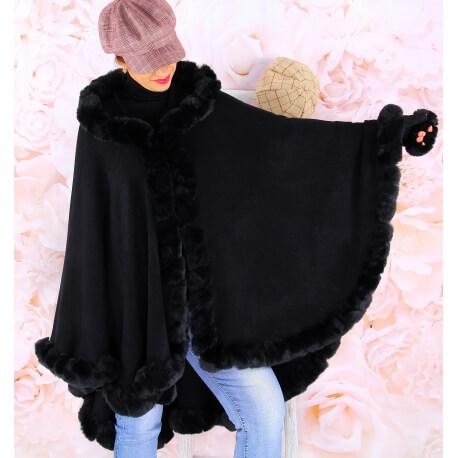 Cape manteau fourrure grande taille hiver JULES Noir Cape femme