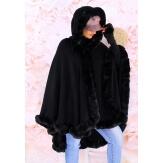 Cape manteau poncho fourrure grande taille hiver noir JULES
