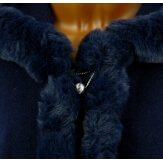 Cape manteau poncho fourrure grande taille hiver bleu  JULES