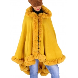 Cape poncho fourrure femme grande taille JULES Moutarde-Cape femme-CHARLESELIE94