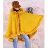Cape manteau poncho fourrure grande taille hiver moutarde JULES