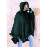 Cape manteau poncho fourrure grande taille hiver vert JULES