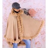 Cape manteau poncho fourrure grande taille hiver camel JULES