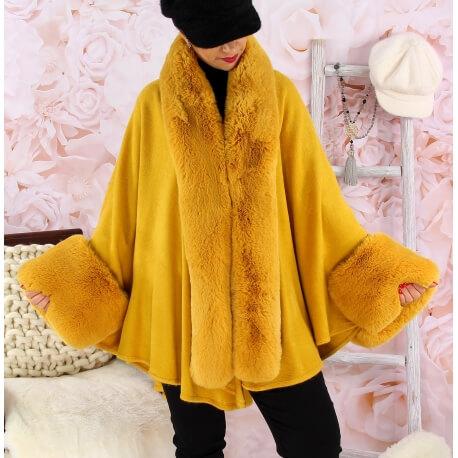 Cape manteau fourrure grande taille SOLVEIG Moutarde Cape femme