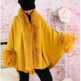 Cape manteau poncho fourrure grande taille hiver moutarde SOLVEIG