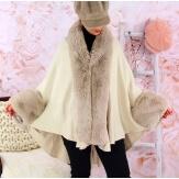 Cape manteau poncho fourrure grande taille hiver beige SOLVEIG