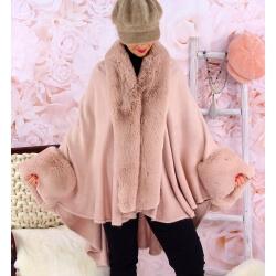Cape manteau fourrure grande taille SOLVEIG Rose poudre Cape femme