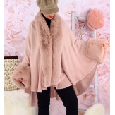 Cape manteau poncho fourrure grande taille hiver rose poudre SOLVEIG