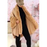 Cape manteau fourrure grande taille SOLVEIG Camel Cape femme