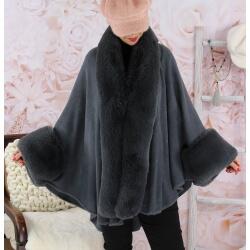 Cape manteau fourrure grande taille SOLVEIG Gris Cape femme