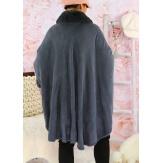 Cape manteau poncho fourrure grande taille hiver gris SOLVEIG