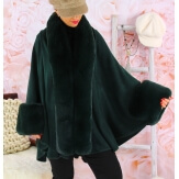 Cape manteau poncho fourrure grande taille hiver vert  SOLVEIG