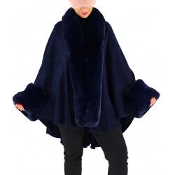Cape manteau poncho fourrure grande taille hiver bleu SOLVEIG