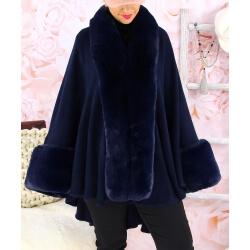 Cape manteau fourrure grande taille SOLVEIG Bleu Cape femme