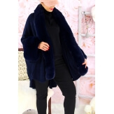 Cape manteau fourrure grande taille SOLVEIG Bleu-Cape femme-CHARLESELIE94