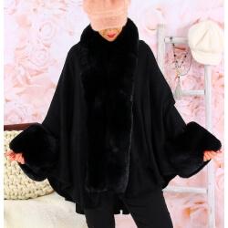 Cape manteau fourrure grande taille SOLVEIG Noir Cape femme