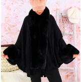 Cape manteau poncho fourrure grande taille hiver noir SOLVEIG
