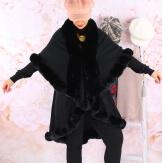 Cape manteau fourrure grande taille VICTOIRE Noir Cape femme