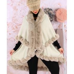 Cape manteau fourrure grande taille VICTOIRE Beige Cape femme