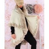 Cape manteau poncho fourrure hiver beige VICTOIRE