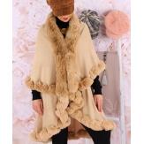 Cape manteau poncho fourrure hiver camel VICTOIRE