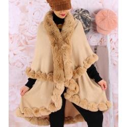 Cape manteau grande taille fourrure VICTOIRE Camel Cape femme