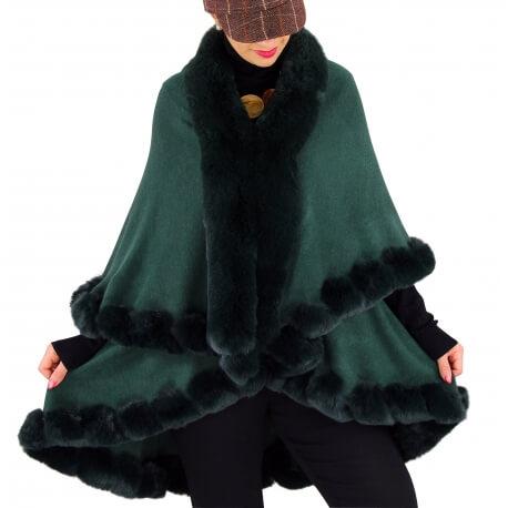 Cape manteau poncho fourrure hiver vert VICTOIRE