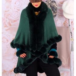 Cape manteau grande taille fourrure VICTOIRE Vert Cape femme