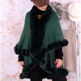 Cape manteau grande taille fourrure VICTOIRE Vert-Cape femme-CHARLESELIE94