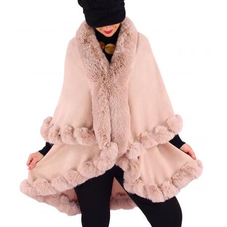 Cape manteau poncho fourrure hiver rose poudre VICTOIRE