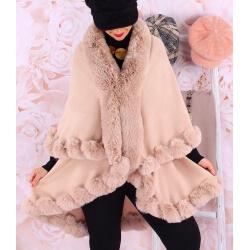 Cape manteau grande taille fourrure VICTOIRE Rose poudre Cape femme