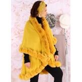 Cape manteau poncho fourrure hiver moutarde VICTOIRE