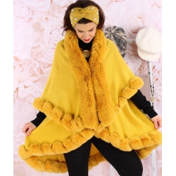 Cape manteau grande taille fourrure VICTOIRE Moutarde Cape femme