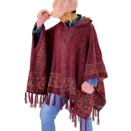 Poncho cape capuche laine franges ethnique hiver bordeaux ADONIS