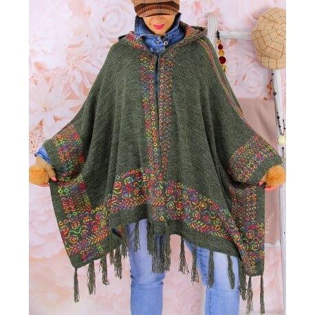 Poncho cape capuche laine franges ADONIS Kaki Poncho hiver femme