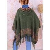 Poncho cape capuche laine franges ethnique hiver kaki ADONIS