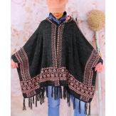 Poncho cape capuche laine franges ethnique hiver gris rose ADONIS