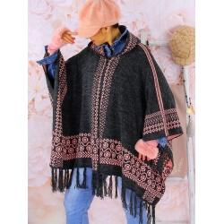 Poncho cape capuche laine franges ADONIS Gris rose Poncho hiver femme