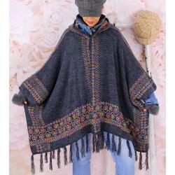 Poncho cape capuche laine franges gris ADONIS Poncho hiver femme
