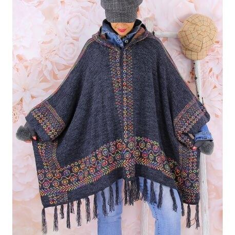 Poncho cape capuche laine franges gris ADONIS femme grandes tailles Poncho hiver femme