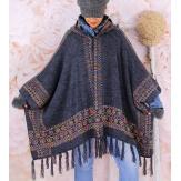 Poncho cape capuche laine franges ADONIS Gris-Poncho hiver femme-CHARLESELIE94