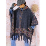 Poncho cape capuche laine franges ethnique gris ADONIS