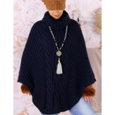 Poncho pull cape laine alpaga hiver grosse maille ELODY bleu marine