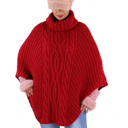 Poncho pull laine grande taille hiver bohème rouge ELODY