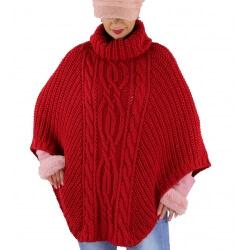Poncho pull laine alpaga grande taille ELODY Rouge-Poncho femme-
